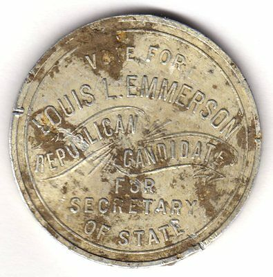 Emmerson Luis L. 1916 Republican Candidate Token For Secretary Of State