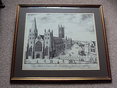 Canterbury Cathedral Fine 18th Century print by Collins antique 18th C engraving
