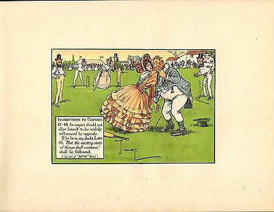 1905 laws of cricket  original colour print -  instructions to umpires !