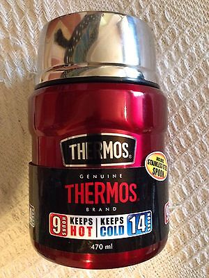 New Thermos 470ml Stainless Steel Food Flask & Spoon - Camping Outdoors