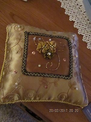 Gold coloured ring, wedding cushion, sequin, bead & embroidery decoration