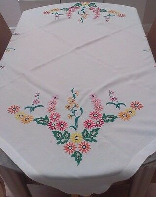 """Vintage White Cotton And Hand Embroidered Floral Tablecloth ~ 48"""" X 43"""""""