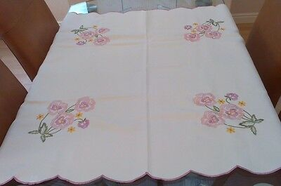 """Vintage Cream Satin And Embroidered Tablecloth ~ 34"""" X 34"""" ~ Pansies"""