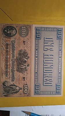 1862 Confederate States $100 One Hundred Dollar Bill Civil War Note    facsimile