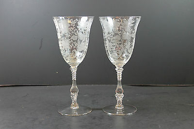 Set of 2 Cambridge Wildflower Clear Pattern Water Goblet Glasses
