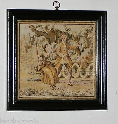 "Late C19th Miniature Tapestry: A Young Couple, She On A Swing: 7 1/2"" Square."