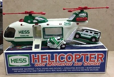 Hess Toy Trucks 2001 Helicopter with Motorcycle and Cruiser (see descrip)