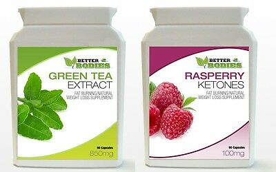 90 Raspberry Ketone 90 Green Tea Extract Diet Weight Loss Slimming Bottle Pills