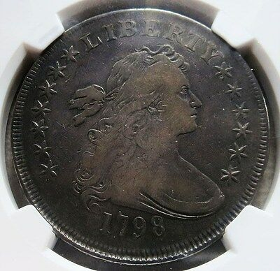1798 Silver Draped Bust Flowing Hair Dollar  Ngc Very Fine 20