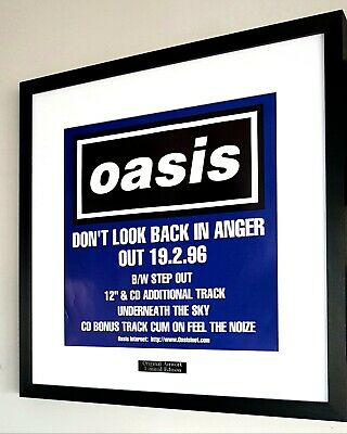 Oasis Don't Look Back In Anger Framed Original Artwork-Ltd Edition-Certificate