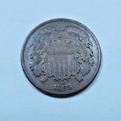 (1) 1865 Two Cent Piece (2 Cent) // VG-G // 1 Coin