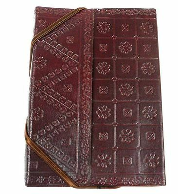 Handmade Embossed Leather Bound Journal Notebook, Chocolate Brown - Fair Trade
