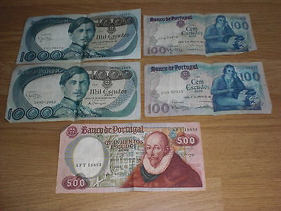 FIVE PORTUGAL ESCUDOS BANK NOTES - 2 x 1,000 plus 2 x 100 plus 1 x 500 - USED