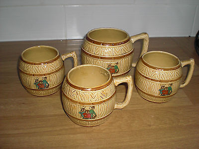 Four Ceramic Cider Round With Handle Mugs Made By Peter Hissey  - Sweet Cider