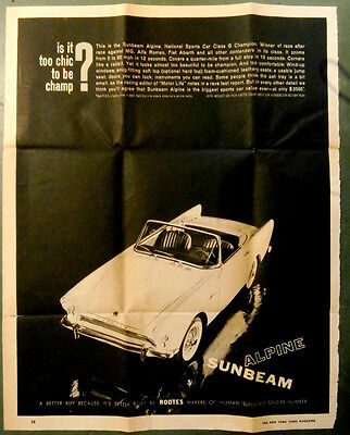 Sunbeam Alpine Advertisement Rootes New York Times Magazine lithograph May 1961