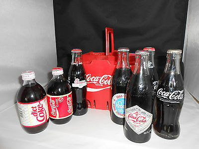 Rare Full Bottles of Coca Cola and carry case-7 full bottles