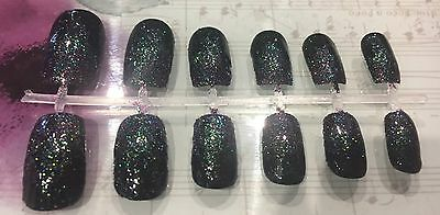 Hand Painted False Nails - Black With Glitter