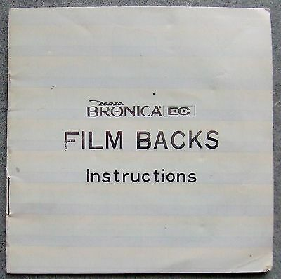 Zenza Bronica Ec Film Backs Instruction Manual