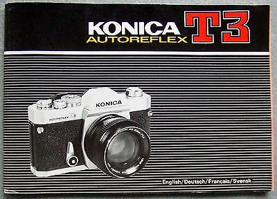 Konica T3 Autoreflex Instruction Manual.