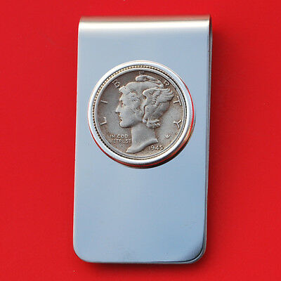 US 1945 Mercury Dime Silver 10 Cent Coin Stainless Steel Money Clip NEW