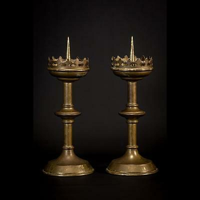 Stunning Pair French Antique Bronze Candlesticks Brass Church Candle Holders 2