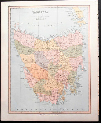 Tasmania & Western Australia map c. 1870 by William Collins Sons & Co. Limited