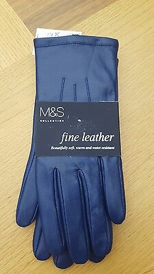 Womans Blue  Fine Leather Gloves size Large