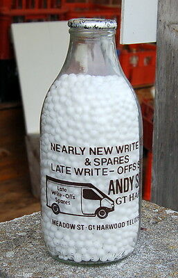 """milk bottle :  lovely """"ANDY SPARES"""" advert Gt. Harwood : dairy"""