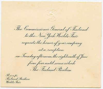 1939-40 invitation from Commissioner General of Finland, New York World's Fair