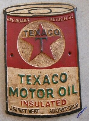 Texaco Motor Oil Insulated Cast Aluminum Gas Station Sign Quart Can Shape Plaque