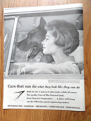 1959 Plymouth Dodge Chrysler Imperial Ad Great Dane Dog Riding Driving