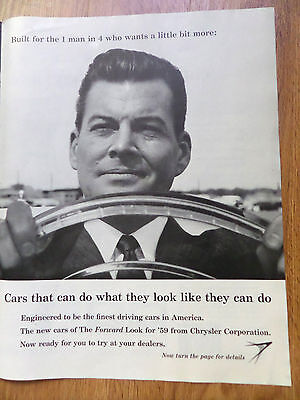 1959 Plymouth Dodge Chrysler Imperial Ad The Forward Look 4 Pages