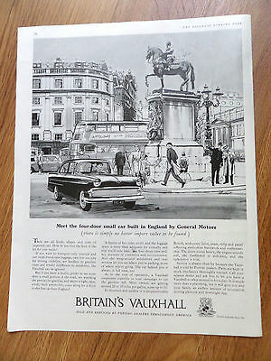 1959 British Vauxhall Ad Small Car Built in England by General Motors