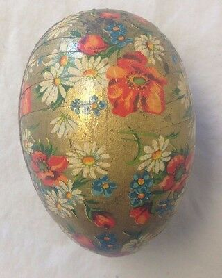 Vintage Easter Egg Paper Mache Candy Container Gold Multicolored Floral