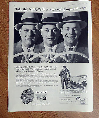1956 AC Guide T-3 Safety Aim Headlamps Ad   Pontiac Automobile