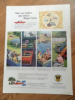 1958 Ethyl Gasoline Ad Outdoor Movie Swimming Boating