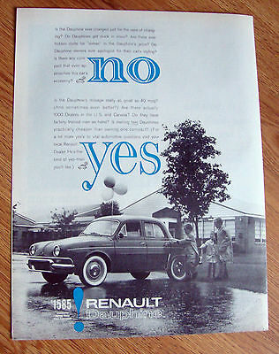 1961 Renault Dauphine Ad NO YES  $1585