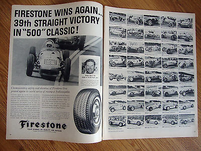 1962 Firestone Tire Ad Indianapolis Indy 500 Rodger Ward & Previous Winners