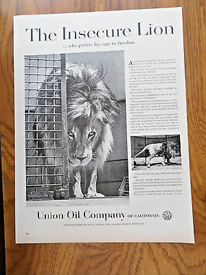 1959 Union Oil 76 Ad  The Insecure Lion Cage to Freedom