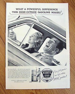1954 Ethyl Gasoline Ad   Couple Driving
