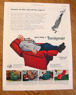 1954 Barcalounger Chair Ad Father's Day  1954 Life Savers Candy Ad Pep O Mint