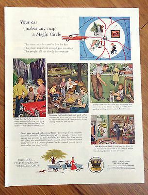 1958 Ethyl Gasoline Ad Outdoors Theme Camping