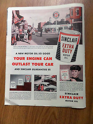 1953 Sinclair Extra Duty Motor Oil Ad Service Station Main Street Theme