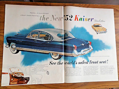 1952 Kaiser Manhattan 4 Door Ad 1952 Mobil Oil Gas Ad