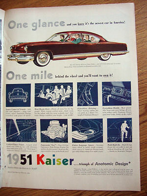 1951 Kaiser DeLuxe 4 Dr Sedan Ad Anatomic Design