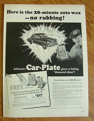 1951 Johnson's Car-Plate Wax Ad Ford Dodge Chevrolet?