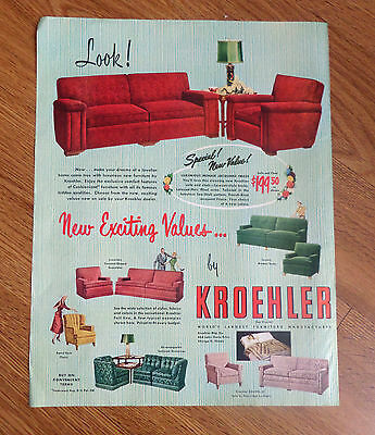 1950 Kroehler Furniture Ad Sofa and Chair New Exciting Values
