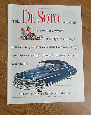 1950 DeSoto Sedan Ad  No Shifting Featherlight Steering