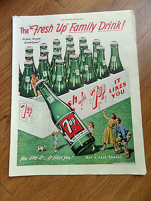 1949 7up Soda Bottle Pop Ad  The Fresh Up Family Drink