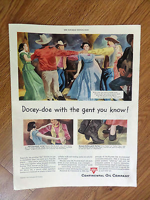 1949 Conoco Oil Gas Continental Company Ad  Country Western Dancing Theme